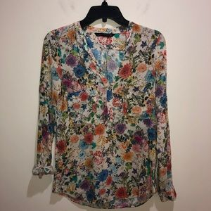 Zara Woman Size XS Long Sleeve Floral Popover Top